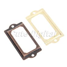 12pcs Golden/Antique Brass Metal Label Pull Frame Handle File Name Card Holder For Furniture Cabinet Drawer Box Case Bin 70x33mm