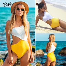 Yisiman One Shoulder Cutout Plain One-piece Swimsuit Women New Off bikini 2019 Girl Hollow Out Swimwear sexy swimsuit L
