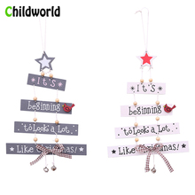 Christmas Wooden Pendant Ball Colorful Letter Decorations for Home Gold Party