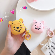 Cute Cartoon Pooh Case for Apple Airpods Case Accessories Wileress Bluetooth Earphone Protective Cover For Airpods Key Ring(China)