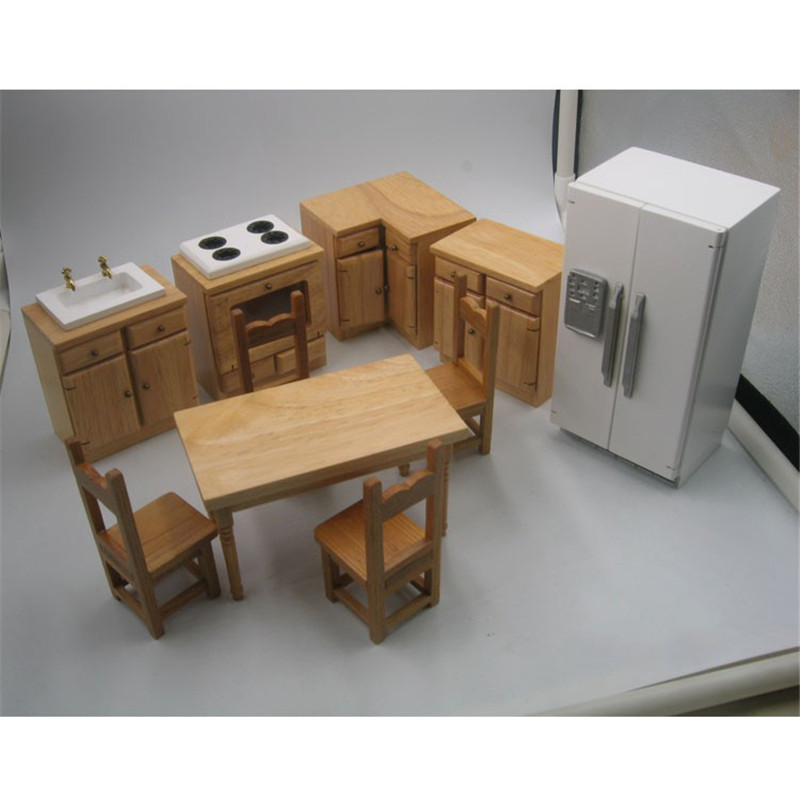 <font><b>1</b></font>:<font><b>12</b></font> Wooden Miniature refrigerator table stove kitchen for dolls Dollhouse Furniture toy dolls house pretend play toys for girls image