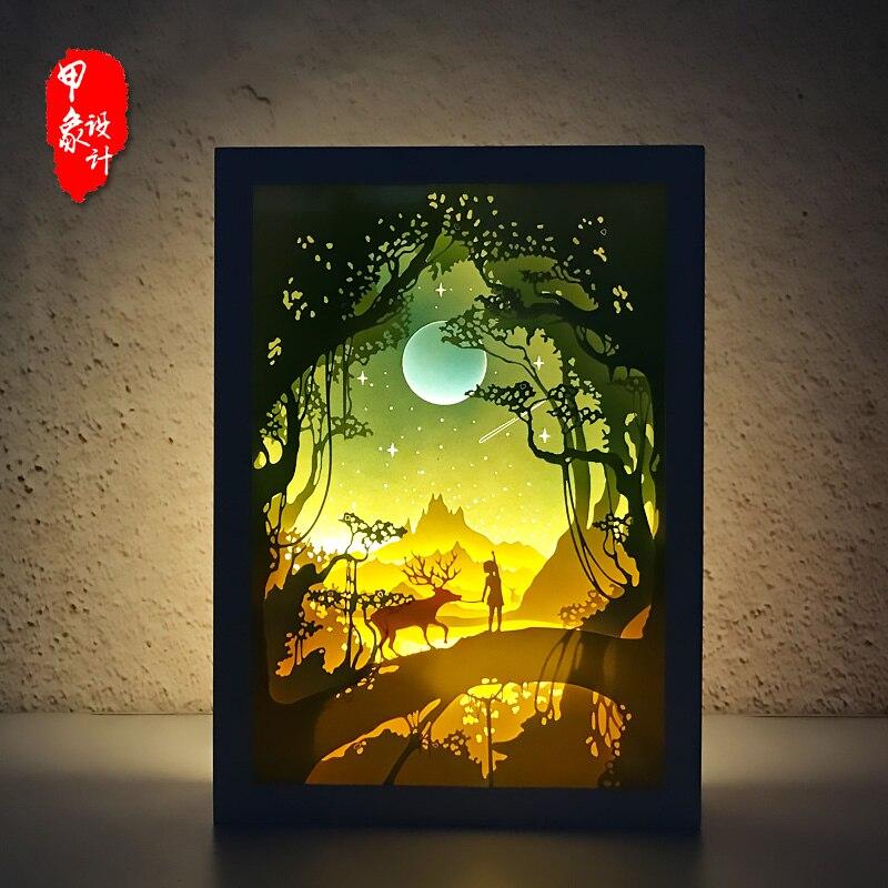100% Kwaliteit Herten Licht Shadow Papier Gesneden Lichten, Diy Creatieve Afstandsbediening Kleine Nacht Lamp 3d Kamer Of Tafel Verlichting, Verjaardag Geschenken