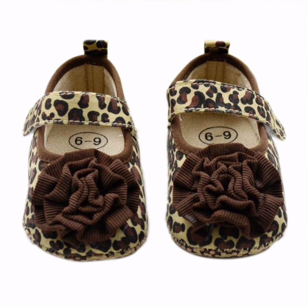 Fashion Kids Toddler Baby Girls Leopard Style Soft Crib Shoes Size 3-12 months