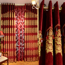 Custom Made Luxury Chenille Fabric Cortinas Blackout Curtains for Living Room Joyous Wedding Eco Friendly Tulle