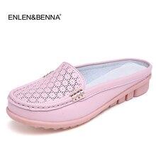 2017 de Las Mujeres sandalias de verano medias zapatillas flip flops sandalias zuecos Zapatos Cómodos Sandalias de Mujer de Cuero Suave Más El Tamaño 35-40