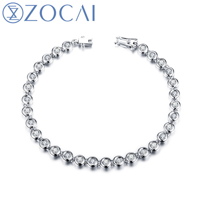 ZOCAI 2014 New Arrival 1.5 ct natural genuine diamond 18K white gold bracelet fine jewelry S00231