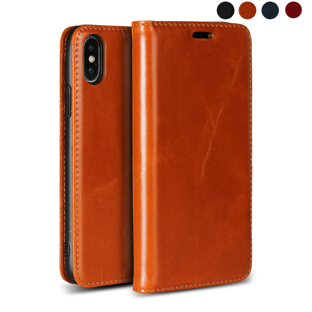 LUCKBUY Classic Real Full-Grain Leather Case for Apple iPhone X XR XS MAX Ultra thin Flip 7 8 6 6s Plus