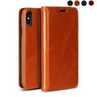 LUCKBUY Classic Real Full Grain Leather Case for Apple iPhone X XR XS MAX Ultra thin Flip Case for iPhone 7 8 6 6s iPhone 8 Plus
