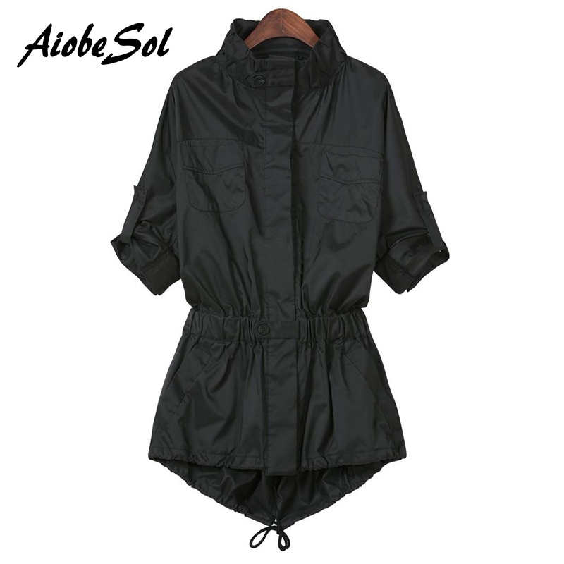 2015 Autumn Style Ladies Single Breasted Long   Trench   Slim Black Long Sleeve Pockets Women's Outwear   Trench   Coat For Women Xxxxl