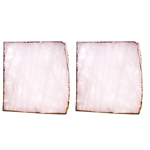 JEYL 2 sztuk agat kromka różowy agat Coaster filiżanka do herbaty taca z ozdobnym wzorem podstawka z kamienia złote krawędzie wystrój domu klejnot podstawka z kamienia Na