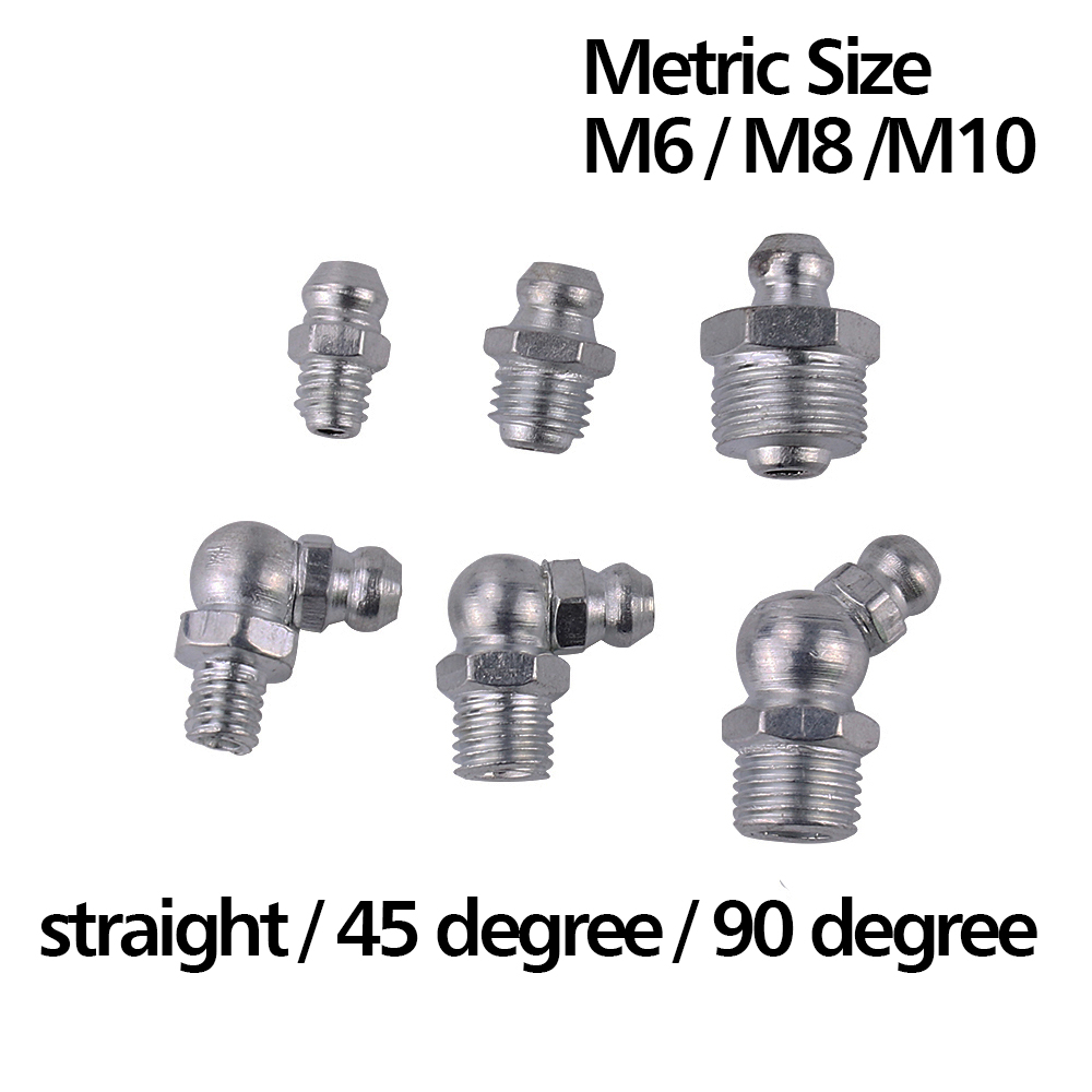 50pcs Silver Steel M6 M8 M10 Male Thread Straight 45 Degree 90 Degree Oil Zerk Grease Nipples Fittings For Hose Tube
