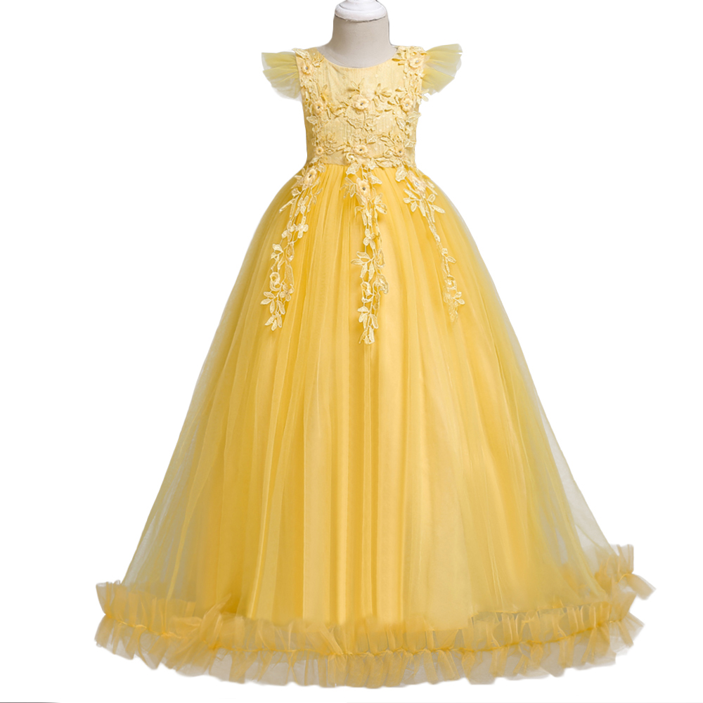 BAOHULU Girls Dress Yellow Flower Tulle Children Wedding Party Dresses Kids Evening Ball Gowns Formal Frocks for Girl 4-14 Years