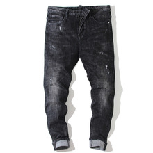 Fashion trend Europe and the United States slim cone type waist mens jeans micro-elastic washed cats must hole black pants