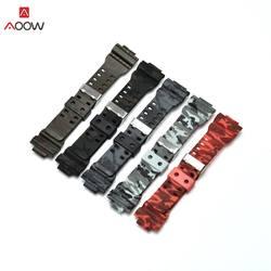 AOOW резиновый ремешок для часов для Casio G-SHOCK Замена Черный Камуфляжный спортивный Водонепроницаемый часы-ремешки 16 мм часы ремень