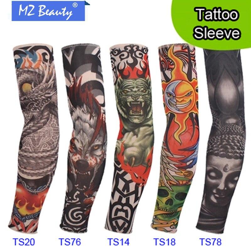 5 ks nový smíšený 92% nylonový elastický Fake dočasné tetování rukávy design tělo Rameno rukávy tetování pro chladné ženy ženy tetování rukávy