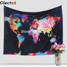 Nuevo Colorido Mapa Del Mundo Impreso Sábana de Algodón Tapiz Tiro Boho Hippie Mandala Tapiz Colgante de Pared de La Pared Decoración Para El Hogar Tapiz