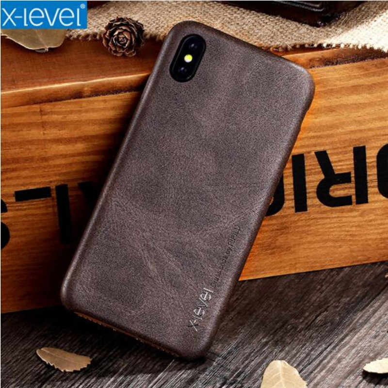 X-Level Vintage PU Leather Retro Phone Case For iPhone 6 6S Plus Ultra thin Cover For iPhone XS Max XR XS iPhone X 8 Plus 7 Plus