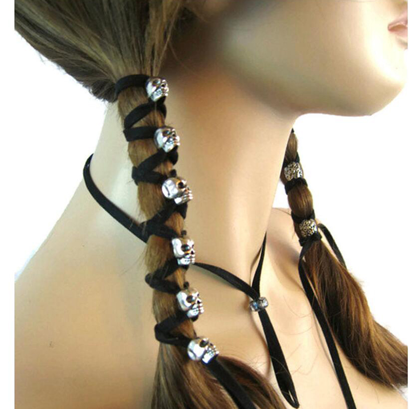 NEW Hot Fashion Skull Hair Accessories DIY Hair Ponytail, Skull 6 Piece + 90cm Velvet Rope, Multi-function Travel Accessories