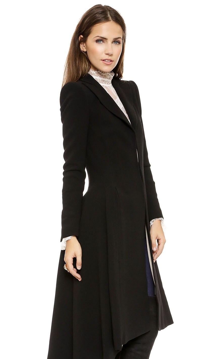 Women Coats Autumn winter swallowtail Black long Trench Dovetail Plus Size 5XL 6XL Female Wool Coat jackets Outwear