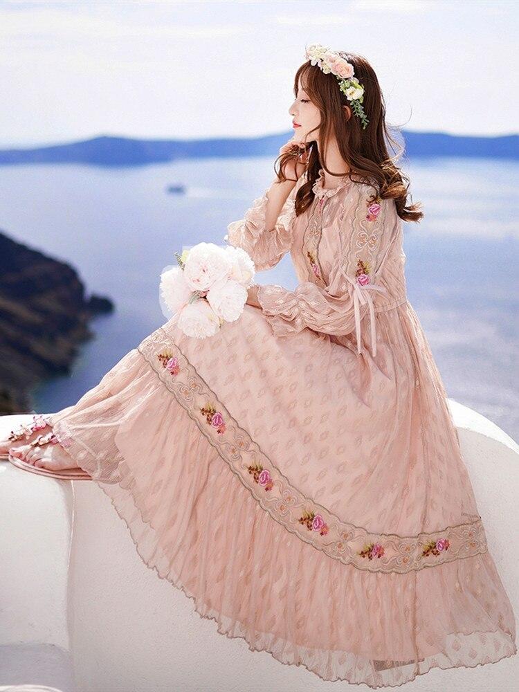 Jessica's store 봄 여성 빈티지 달콤한 귀여운 자수 레이스 캐주얼 루즈 핑크 mid calf 롱 드레스 vestidos verano 2019 vadim-에서드레스부터 여성 의류 의  그룹 1
