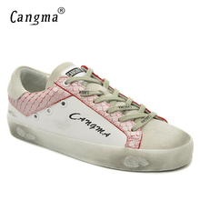CANGMA Original Italian Style Fashion Flats Shoes Sneakers Women Genuine Leather Suede White Shoes Ladies Vintage Bass Footwear