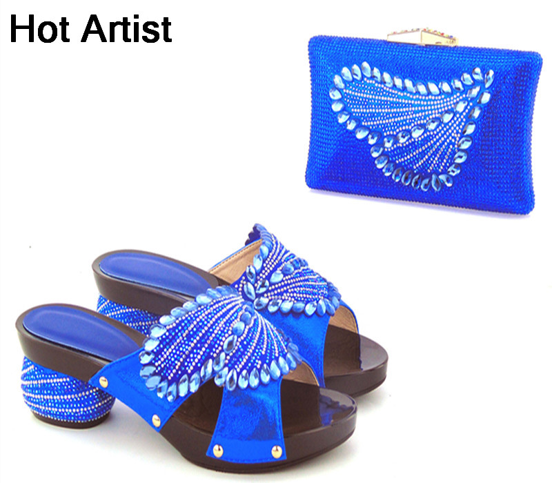 Hot Artist Fashion Italian Style Crystal Women Pumps Shoes And Bag Set New African Middle Heels Shoes And Purse Set For Party  hot artist african style slipper shoes and matching bag set fashion rhinestone ladies pumps shoes and bag set for party me7708