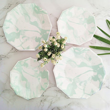32pcs Large 9inch Paper Plate Mint Marble Foil Silver Edge Design Plate Baby Shower Engagement First Birthday Party Decor Plates(China)