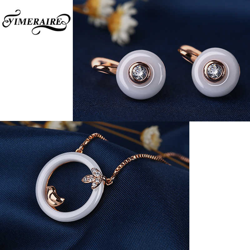 New Natural Style Bird Cute Jewelry Set For Women Hollow Round Pendant Necklace Crystal Round Stud Earrings For Girl Lovely Sets