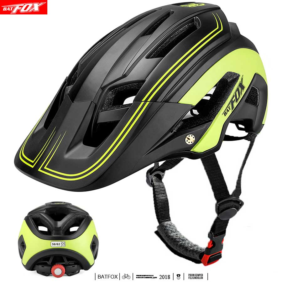 BATFOX Ultralight Helmet Cycling Helmet Bike With Light Intergrally-molded Mountain Road Bicycle Helmet Safe Men Women Helmets