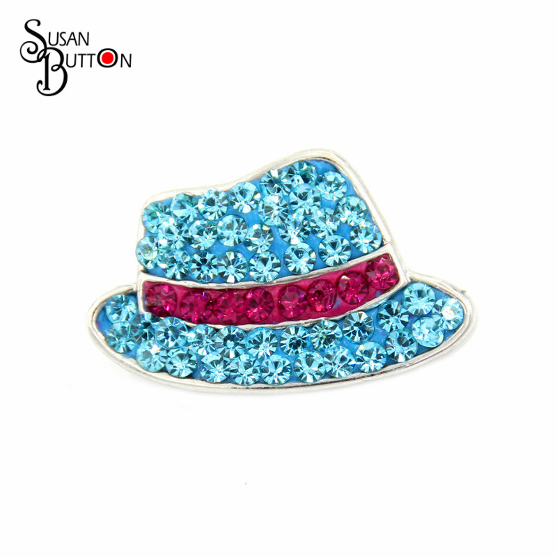 12pcsFashion hat Snap Button Charm Rhinestone Blue Billycock Ceramic Snap Button Jewelry Fit Snap Susan Bracelet Necklace SB1284
