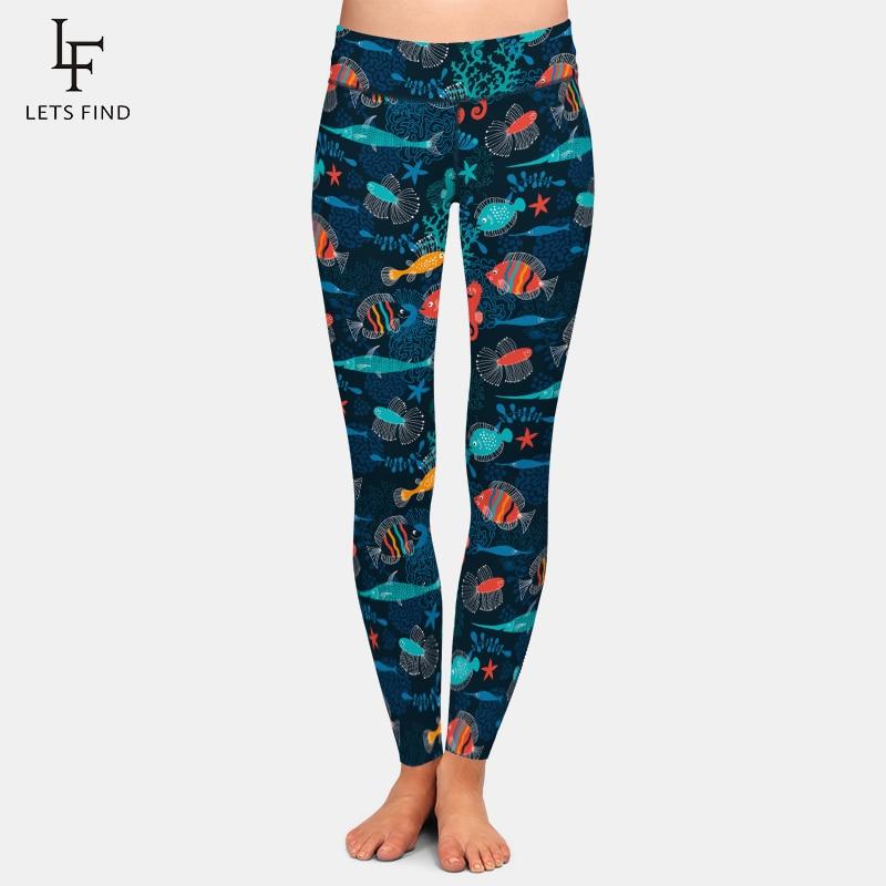 LETSFIND High Elastic High Waist Casual Women Leggings 3D Cartoon Fish Print Plus Size Black Girl Warm Leggings