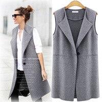 Europe 2016 Coréenne Gilet Sans Manche Manteau Long Coton Survêtement Tout-Allumette Mince Cardigan En Tricot Manteau Femmes Casual Vêtements