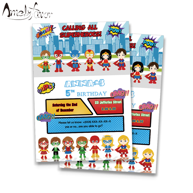 Superhero Invitations Card Birthday Party Supplies Decorations Boy And Girls Kids Event