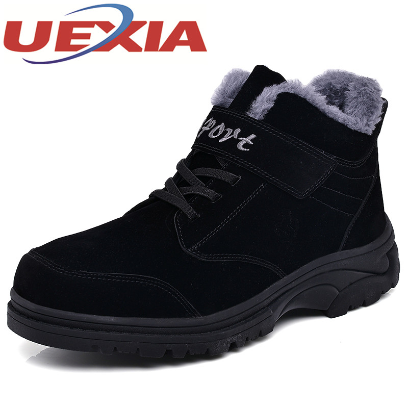 Winter Warm Shoes Mens High Top Hiking Shoes Athletics Outdoor Plush Ankle Boots Men Sports Shoes Comfortable Climbing Sneakers yin qi shi man winter outdoor shoes hiking camping trip high top hiking boots cow leather durable female plush warm outdoor boot