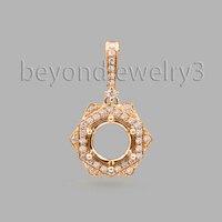 Round Cut 7mm Diamond Semi Mount Pendant 18K Yellow Gold Pendant For Sale WP041G