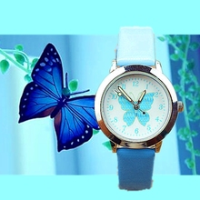 New cute butterfly color belt wrist watch primary and secondary school