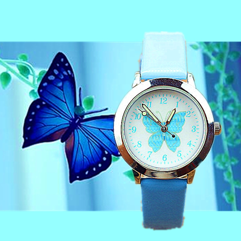 New Cute Butterfly Color Belt Wrist Watch Primary And Secondary School Students Watch Children Cartoon Quartz Watch