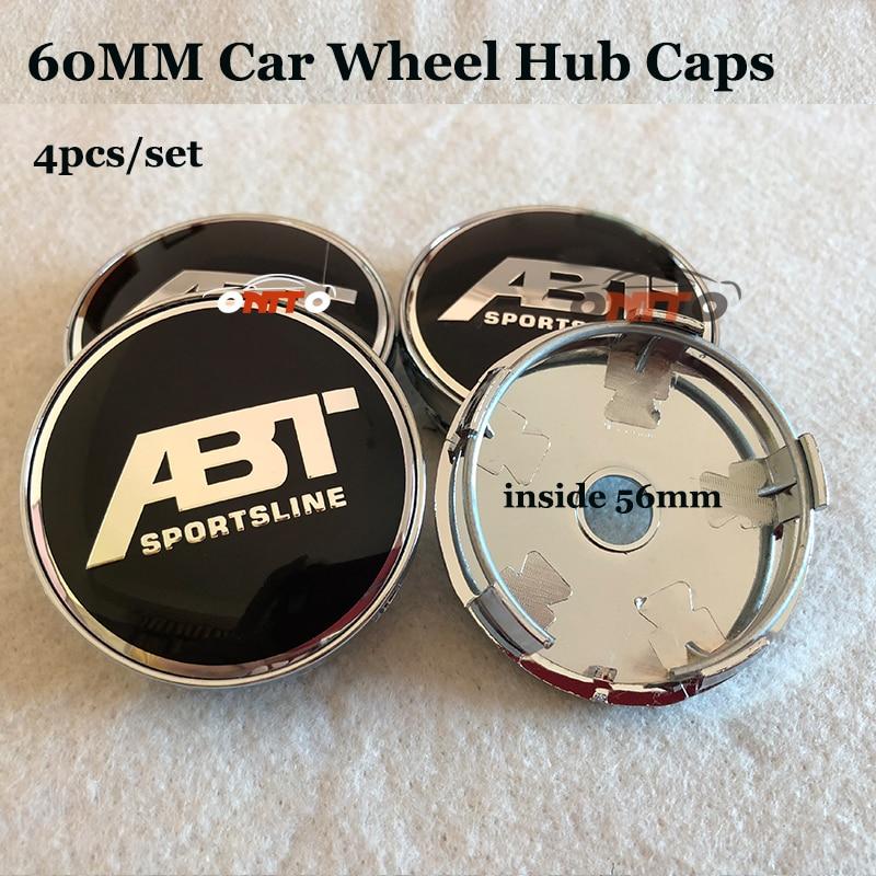 4pcs set ABT Logo emblem badge 60mm PVC Car Wheel hub center caps for vw Passat