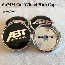 4 pçs/set ABT Logotipo do emblema do emblema 60mm PVC Car centro de Roda hub caps para vw Passat B6 B7 CC Golf Jetta MK5 MK6 Tiguan Carro-styling