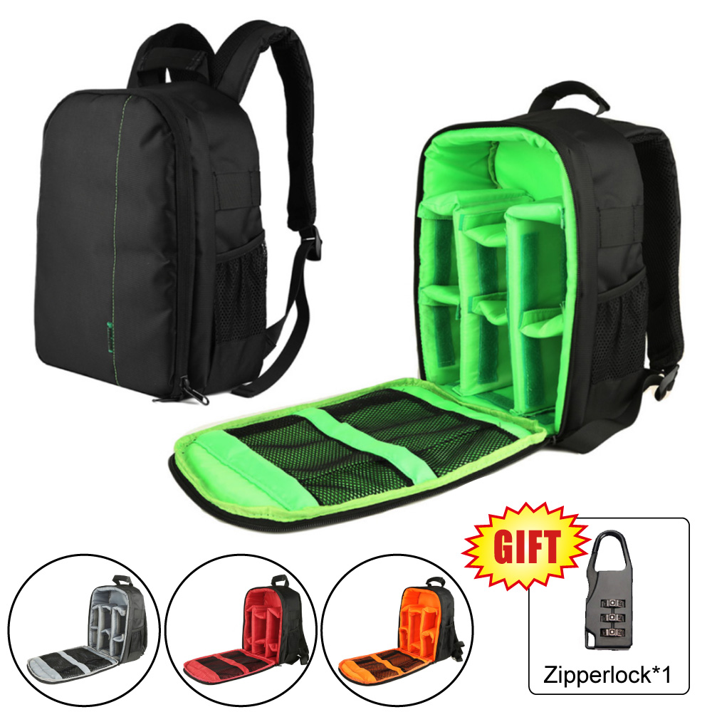 Camera Waterproof Digital DSLR Photo Video Bag Case Padded Backpack + Mini Lock for Nikon Canon Camera Flashlight & Accessories