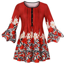 Joineles Women Mini Party Dresses Floral Print Autumn Summer Boho Beach Dress Flare Sleeve Plus Size Casual Dress Vestidos 5XL(China)