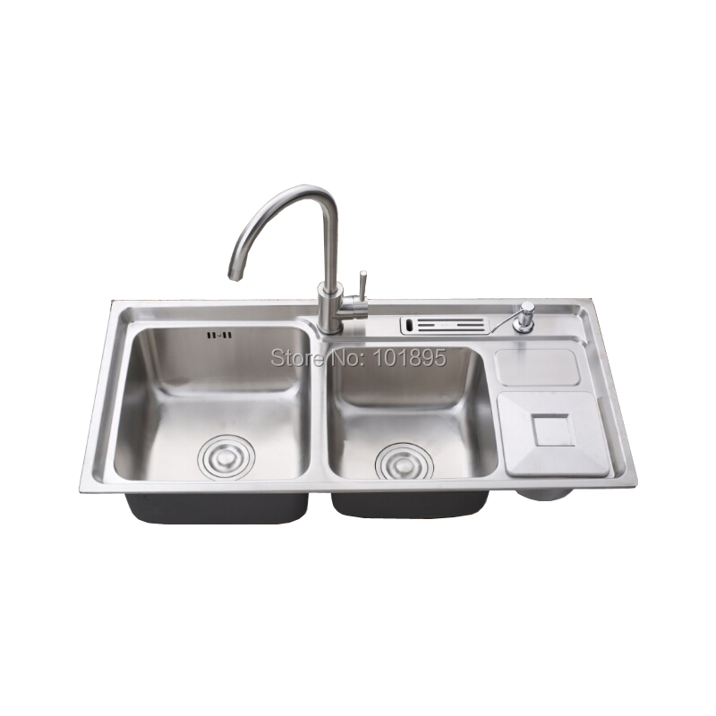 Sus304 Steel Square Triple Bowl 920 430 230mm Kitchen Sink X26060 China