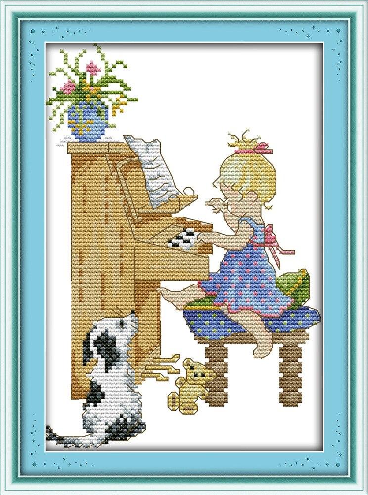 Joy Sunday Sled Dog Dmc Counted Chinese Cross Stitch Kits Printed Cross-stitch Set Embroidery Needlework Electronic Components & Supplies