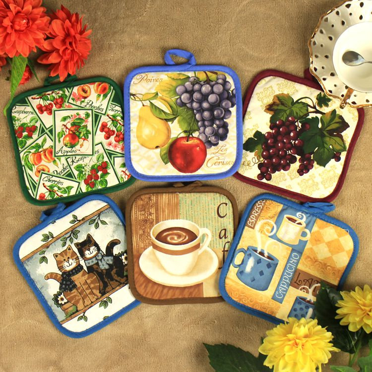4pcs Lot Kitchen Accessories American Country Style Crink Coasters Cute Cotton Placemats Insulation Tablemats 16