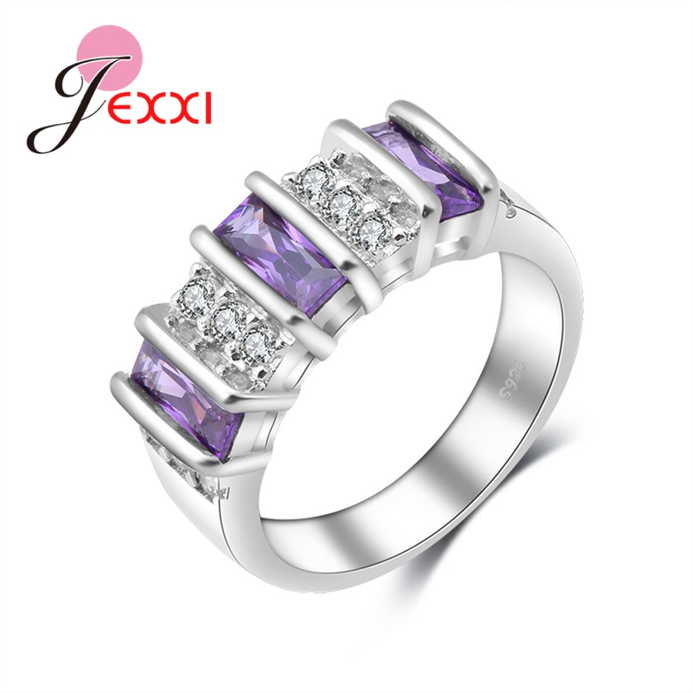 Jemmin Top Quality New Arrival Special Three Purple Cubic Zirconia Generous Wedding 925 Sterling Sliver Rings For Girls/WomenJemmin Top Quality New Arrival Special Three Purple Cubic Zirconia Generous Wedding 925 Sterling Sliver Rings For Girls/Women