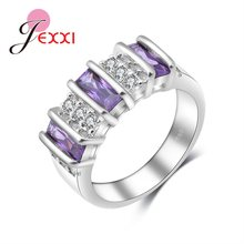 Top Quality New Arrival Special Three Purple Cubic Zirconia Generous Wedding 925 Sterling Silver Rings For Girls/Women(China)