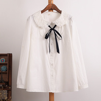 Female Preppy Style Sweet Cute Peter Pan Collar Blouse Cotton Casual Shirt Lace Collar Bow Full
