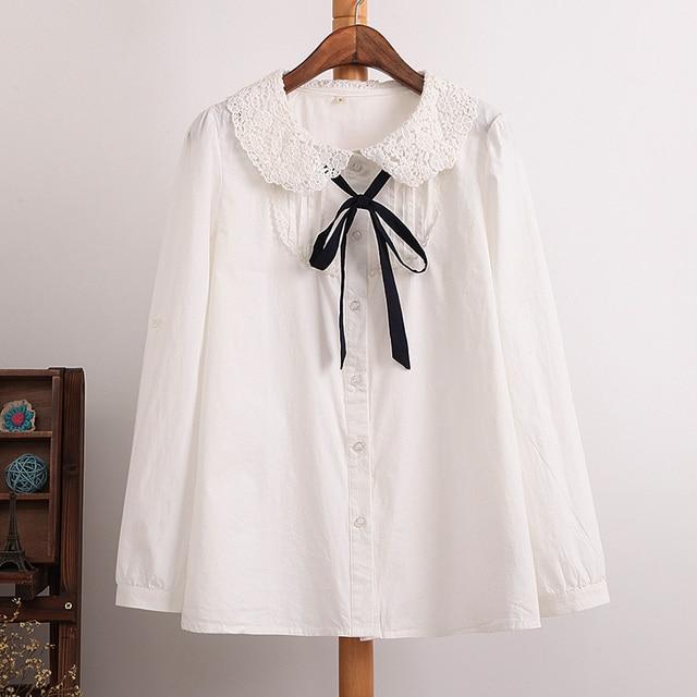 12b4bca171763 Feminino Estilo Preppy Doce Bonito peter pan colarinho Blusa de Algodão  casual camisa gola de Renda