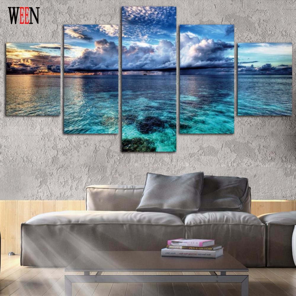 Framed 5pcs blue sky clear ocean canvas art wall pictures for framed 5pcs blue sky clear ocean canvas art wall pictures for living room hd print large modern cuadros decoracion wall poster in painting calligraphy jeuxipadfo Choice Image