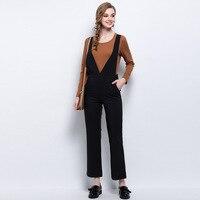 Cộng với kích thước L-5XL two pieces loose phụ nữ tập thời trang giản dị phù hợp với dài tay áo dệt kim áo sơ mi màu đen màu treo quần HM1076